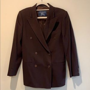 Burberry Wool Brown Double Breasted Blazer Size 42